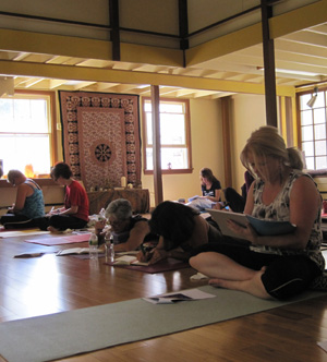 Yoga and writing summer writing wellness day from Women Reading Aloud and Purple Om Studio